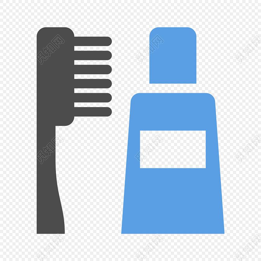 牙刷蓝色牙膏医疗矢量图素材