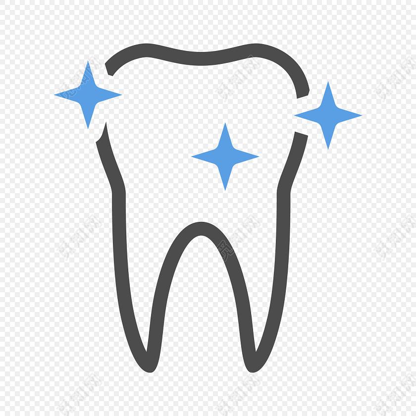 蓝色星光牙齿口腔矢量图素材