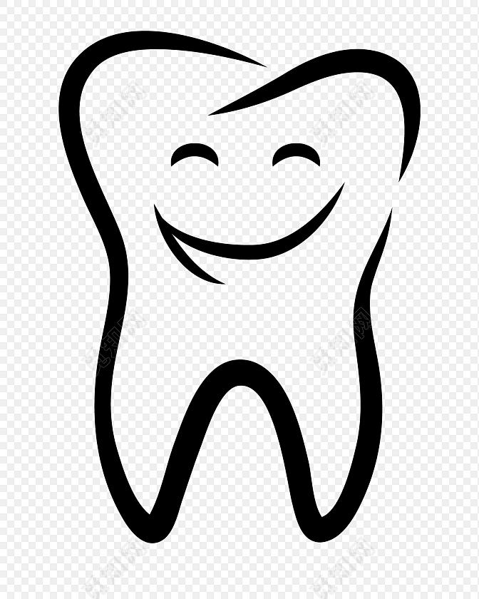 黑色线条牙齿口腔矢量图素材