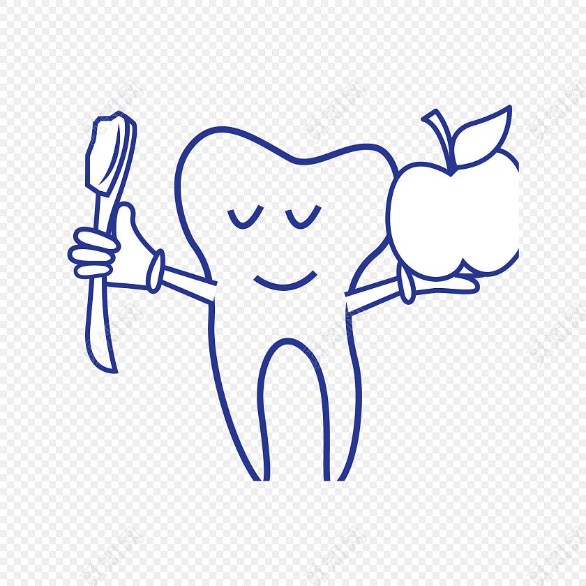 牙刷牙齿苹果医疗矢量图素材