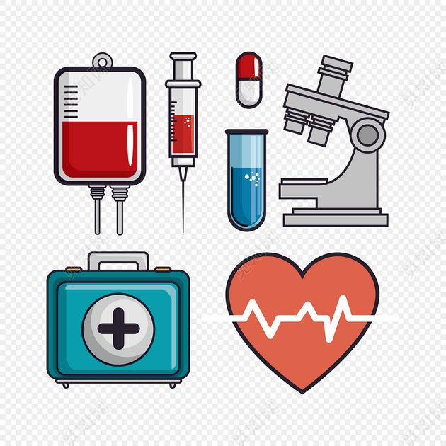 针筒显微镜医药医疗器具矢量图素材