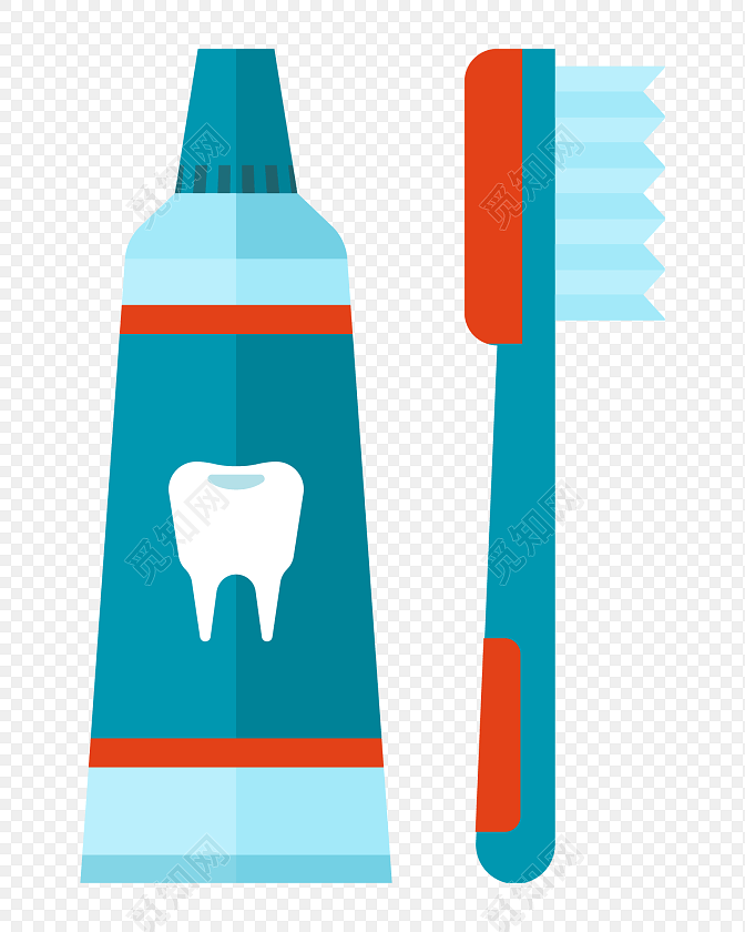 蓝色牙膏牙刷矢量图素材