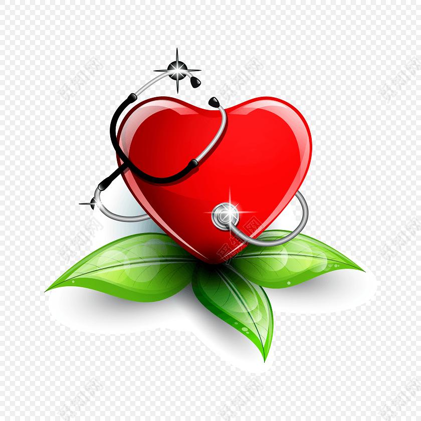 红色卡通现代简约心脏听诊器元素免抠素材