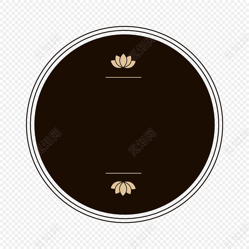 简约黑色圆形荷花背景设计素材