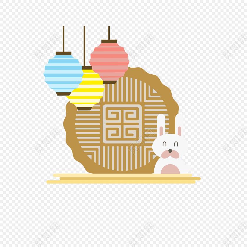 矢量手绘灯笼兔子中秋节设计素材