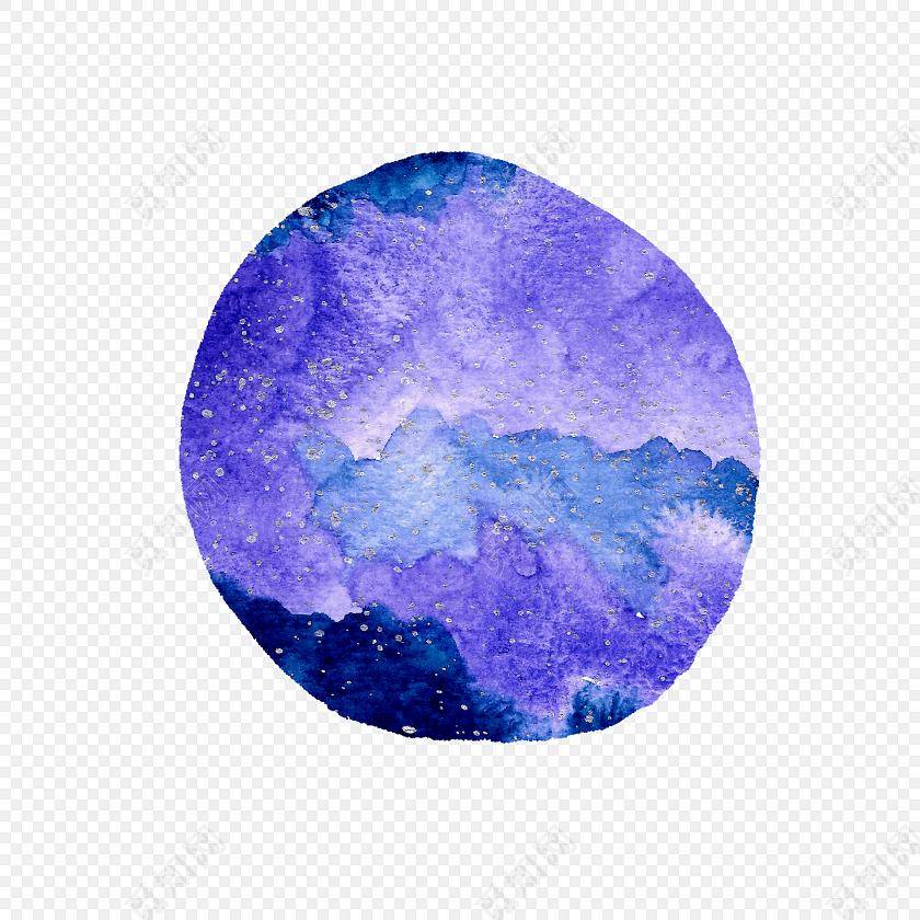 水彩水墨圆形晕染星空绘画素材