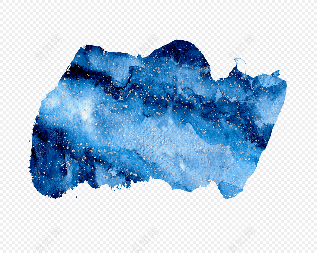 水彩水墨蓝色晕染星空绘画素材