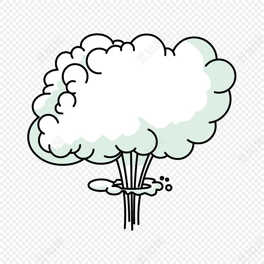 卡通手绘蘑菇云矢量素材