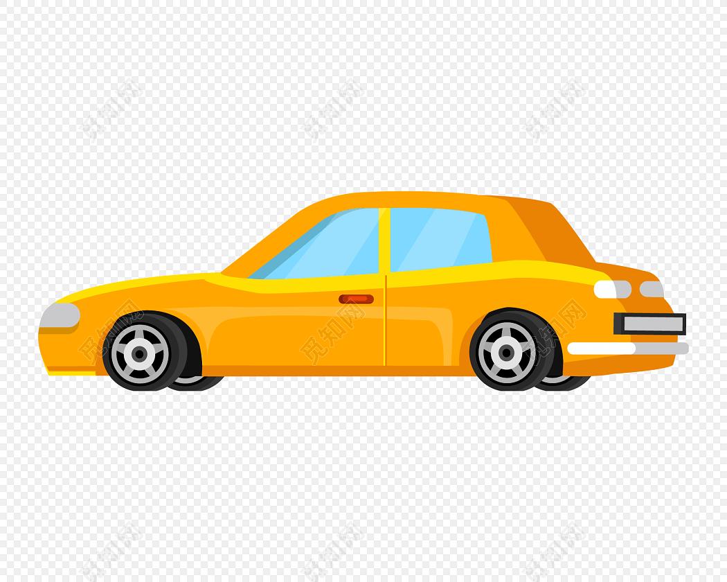 卡通黄色小汽车矢量图
