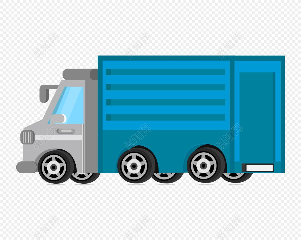 蓝色货车矢量图