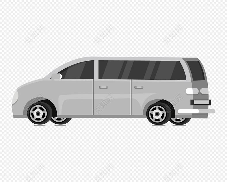 银灰色大型商务车矢量图