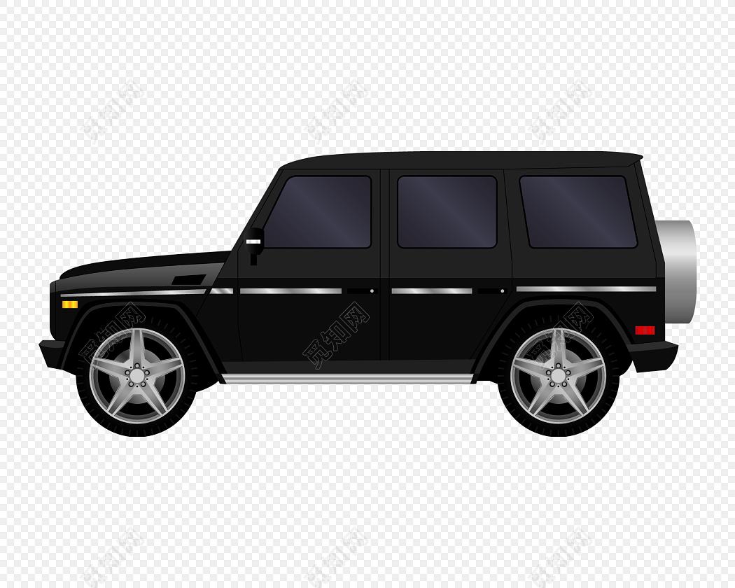 卡通黑色越野车矢量图