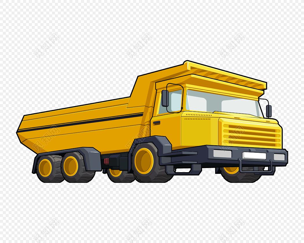 黄色手绘工程车矢量图
