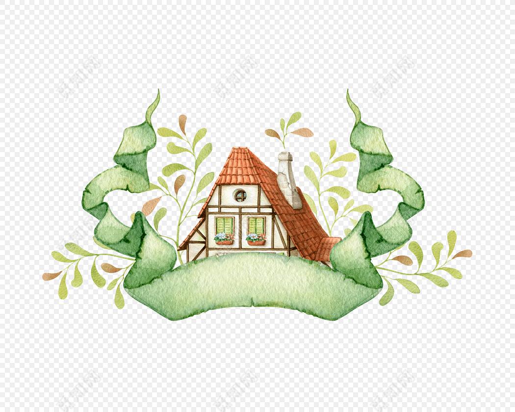 彩色小清新卡通植物房子水彩插画