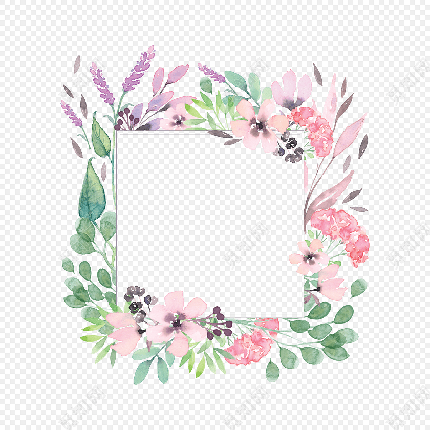 彩色小清新植物水彩插画边框装饰素材