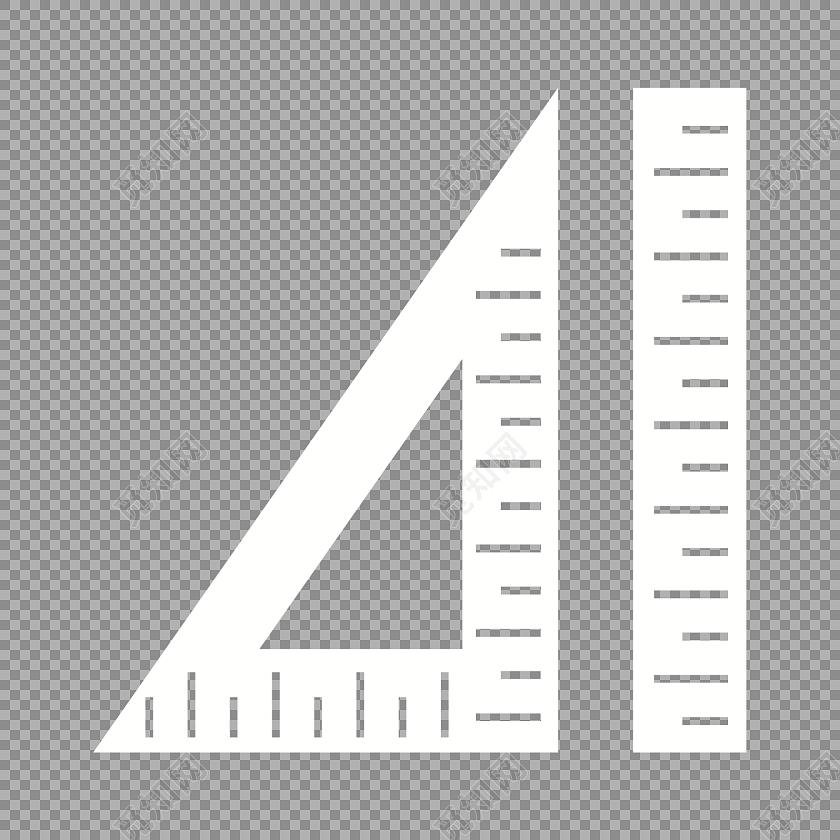 白色三角尺直尺素材