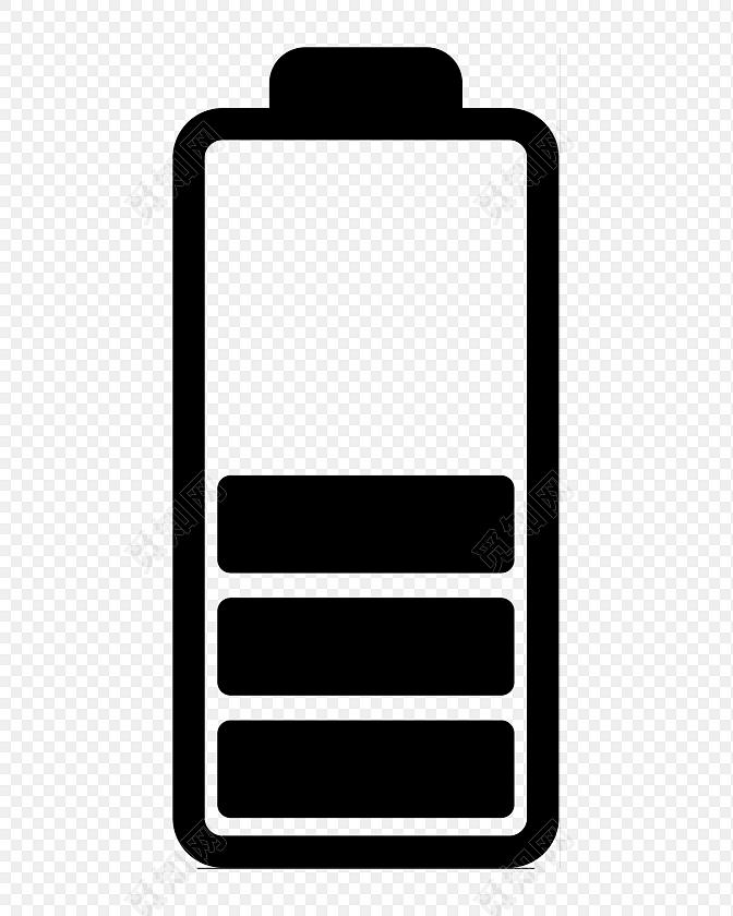 黑白简约商务三格电量电池图标免费下载_png素材_觅