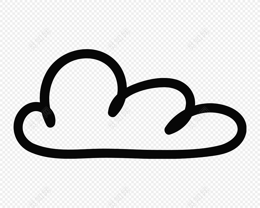 卡通云朵黑白简笔画素材