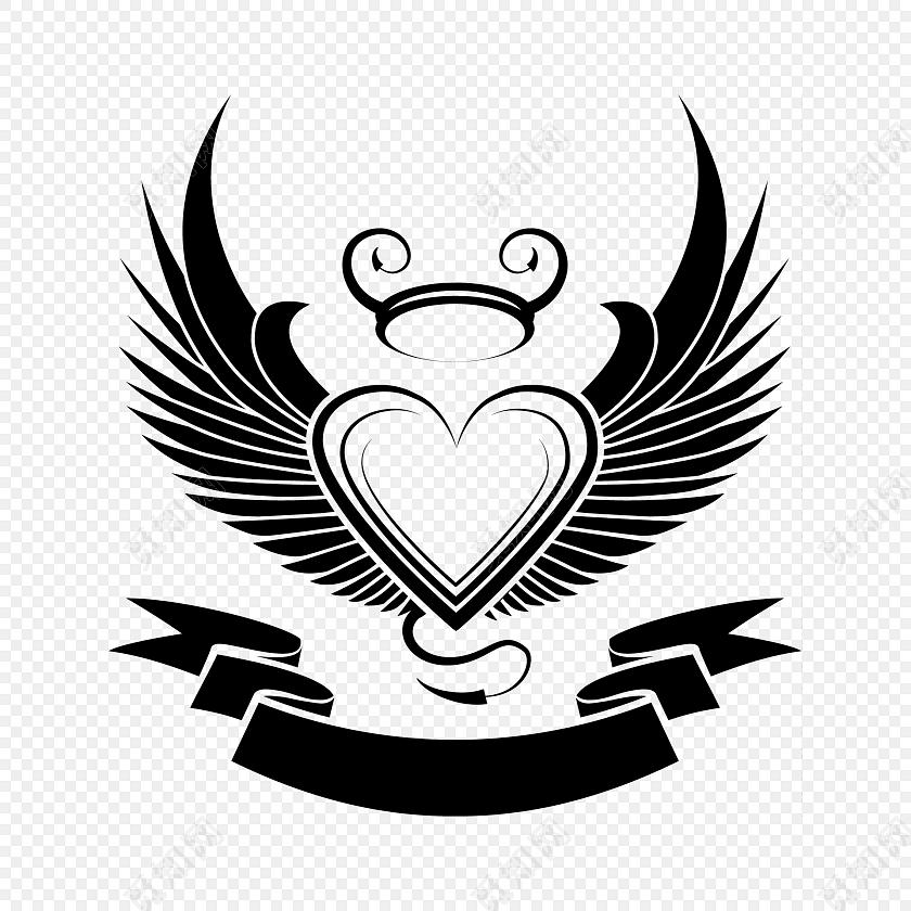 ai 免费下载png免费下载ai png素材爱心翅膀王冠素材标签:图标 免抠