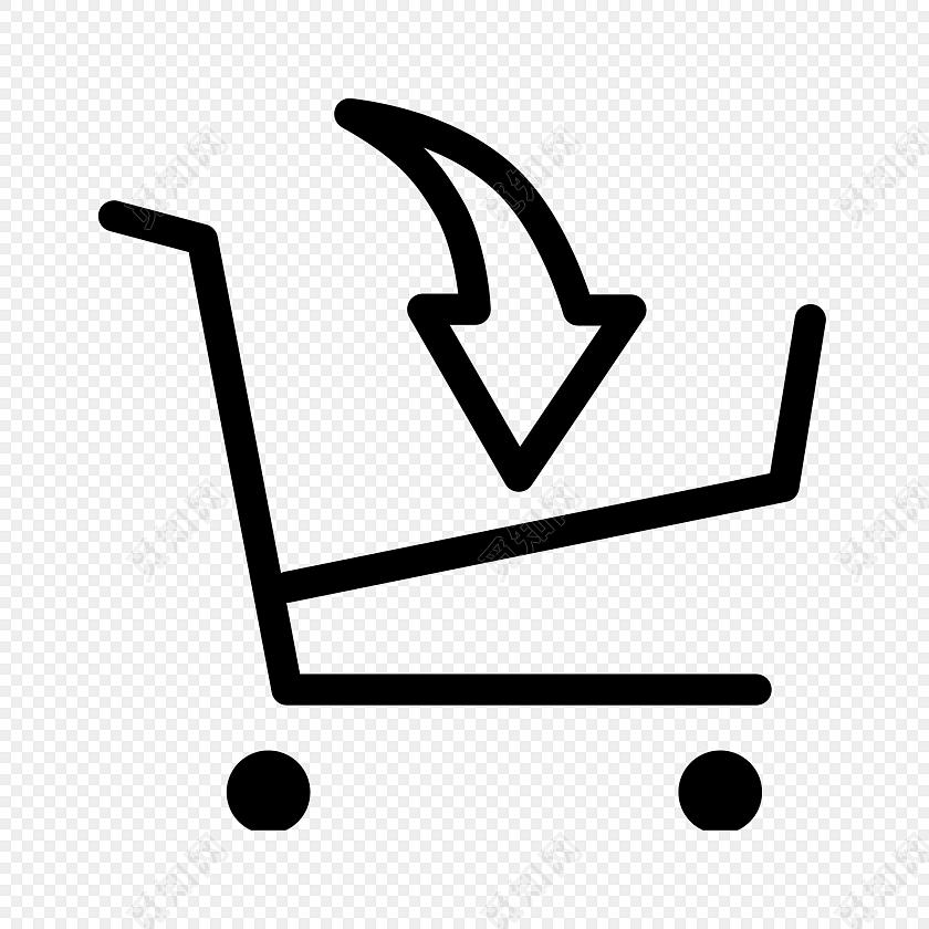 简单手绘购物车图标