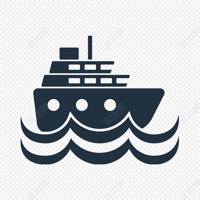 轮船海浪矢量素材图