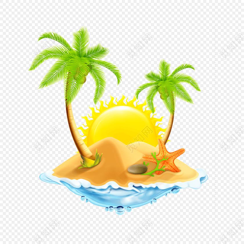 彩色卡通沙滩海岛矢量素材