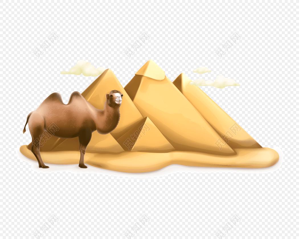 彩色卡通沙漠骆驼矢量素材