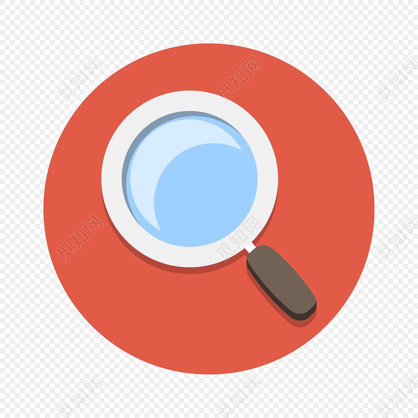 卡通扁平化放大镜圆形图标素材