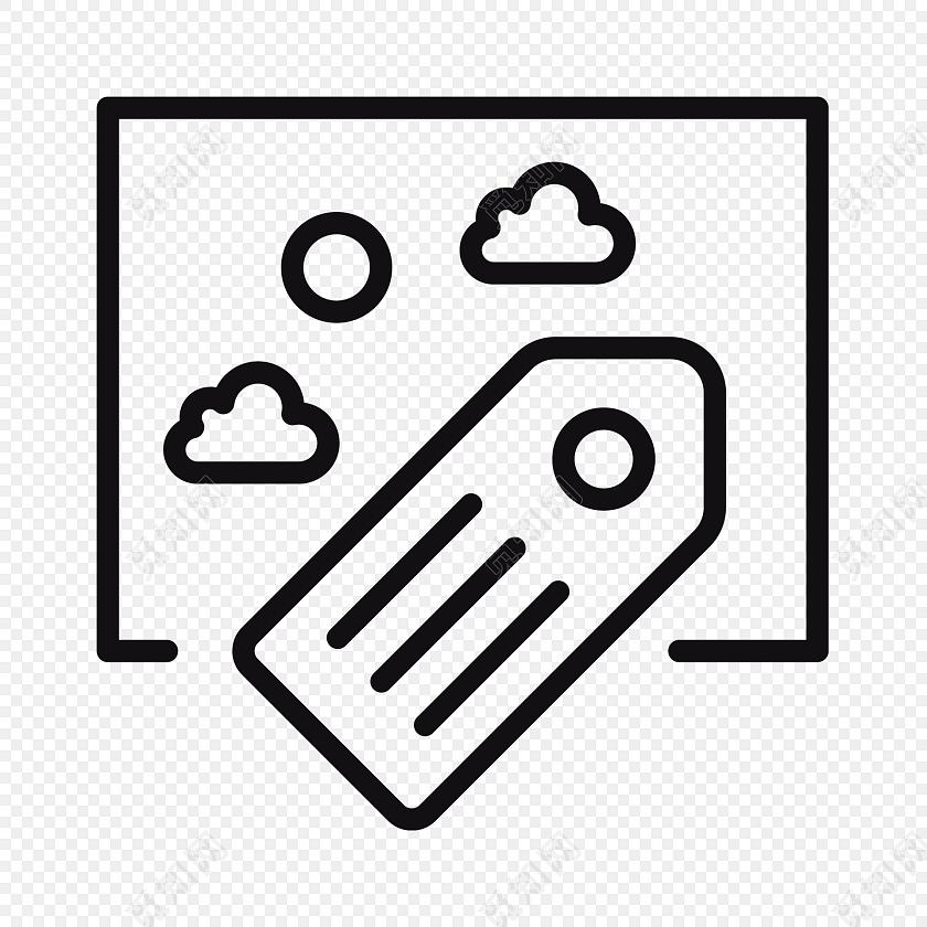 手绘白云正方形图标