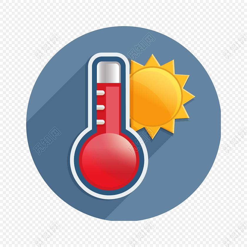 卡通简约温度计圆形图标素材
