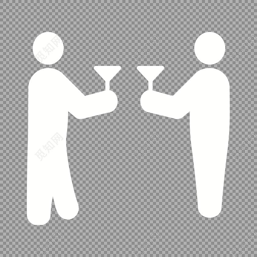 白色碰杯商务图标
