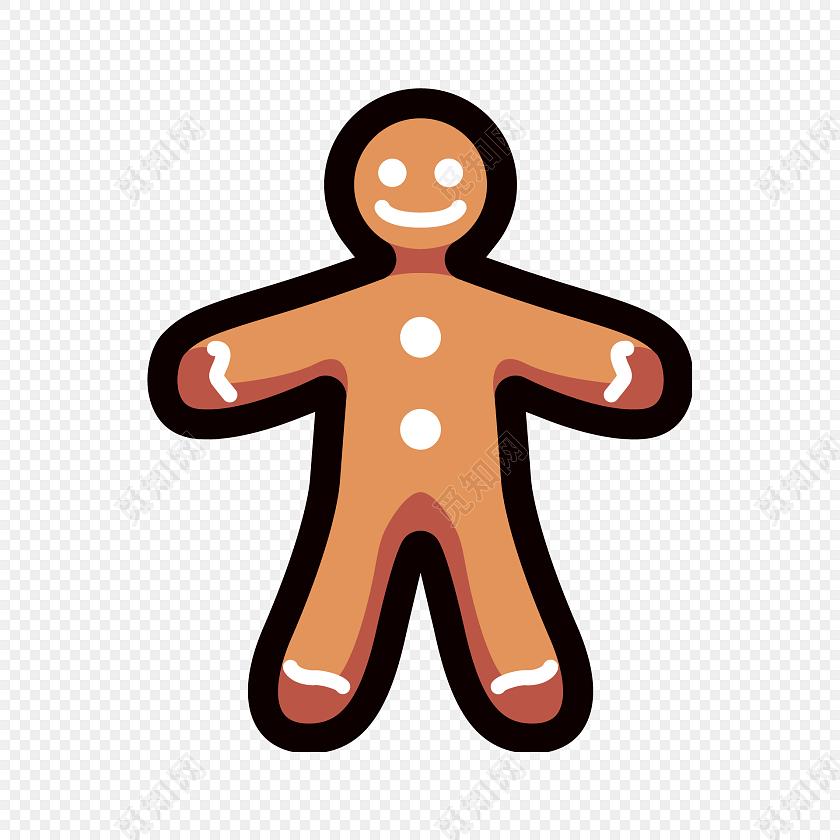 手绘卡通小人饼干素材图片