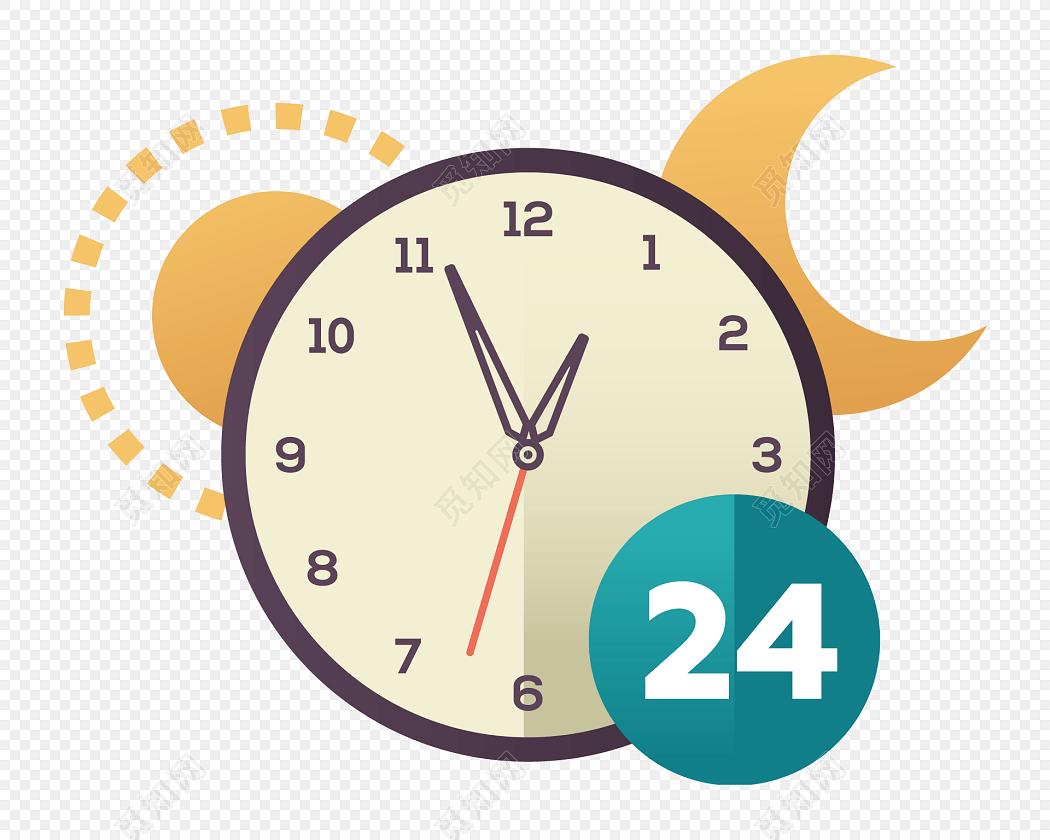 手绘卡通24小时全天营业时间图标时钟图标素材