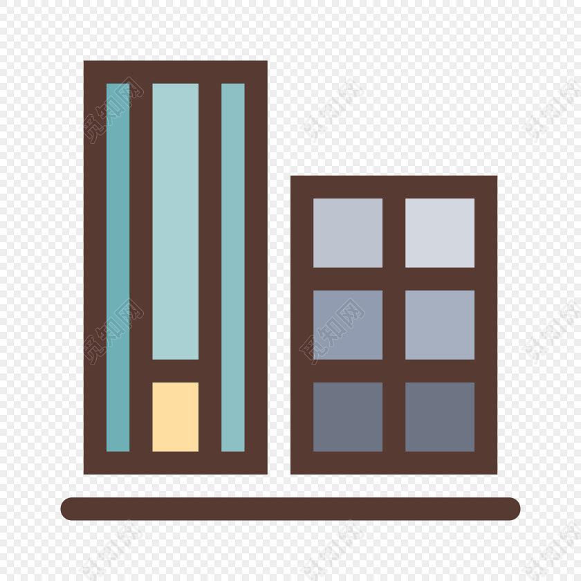 卡通彩色窗户简笔画标签素材免费下载_png素材_觅知网