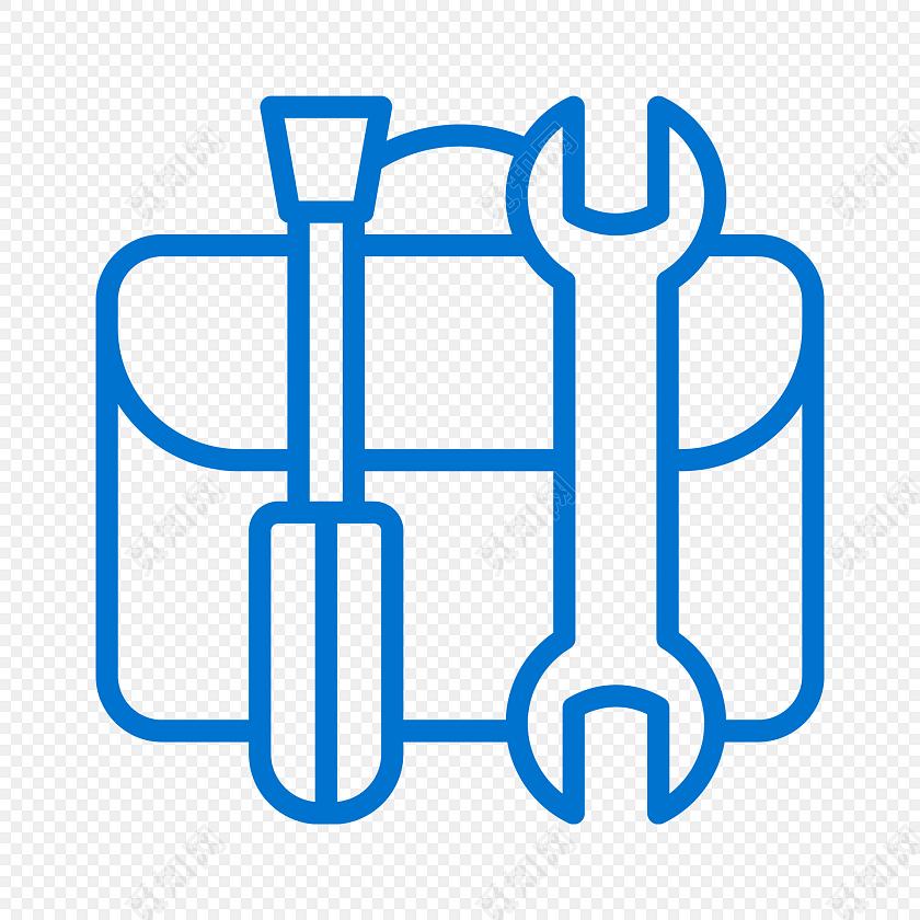 蓝色简约线条工具包图标免抠素材