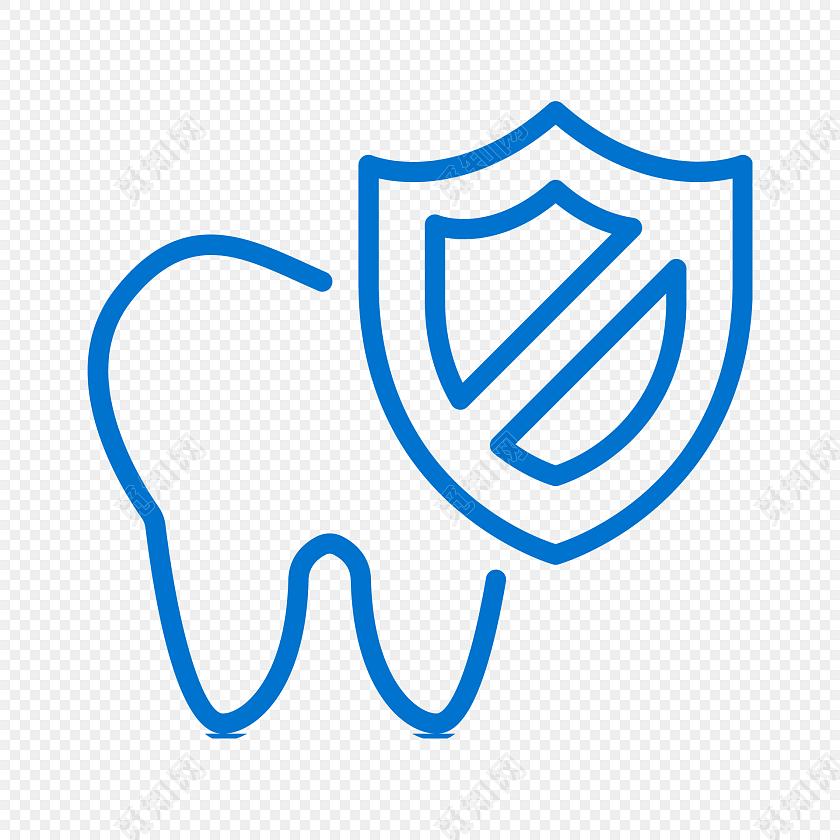 蓝色简约线条牙齿保障图标免抠素材