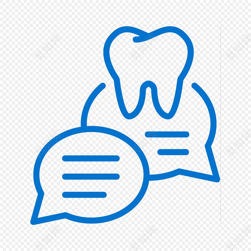 蓝色简约线条牙齿聊天图标免抠素材