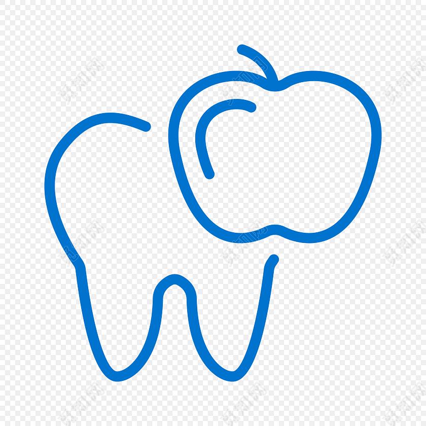 蓝色简约线条牙齿苹果图标免抠素材