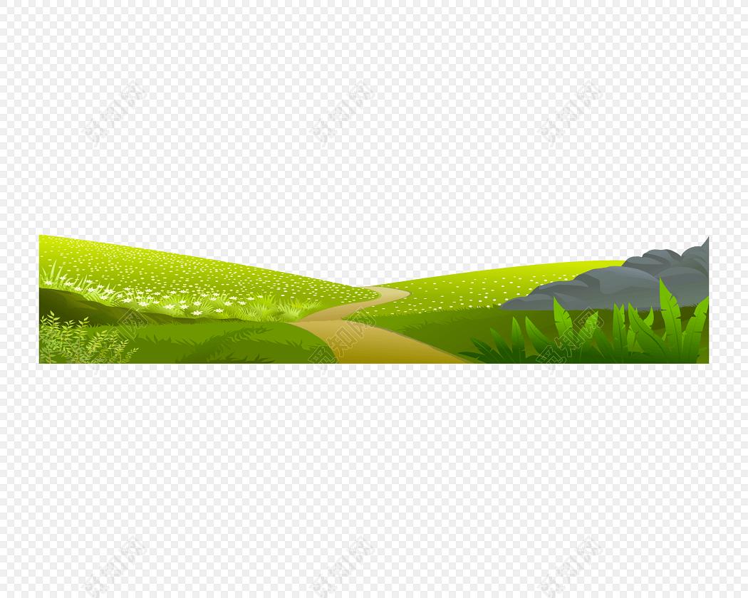绿色草原手绘素材