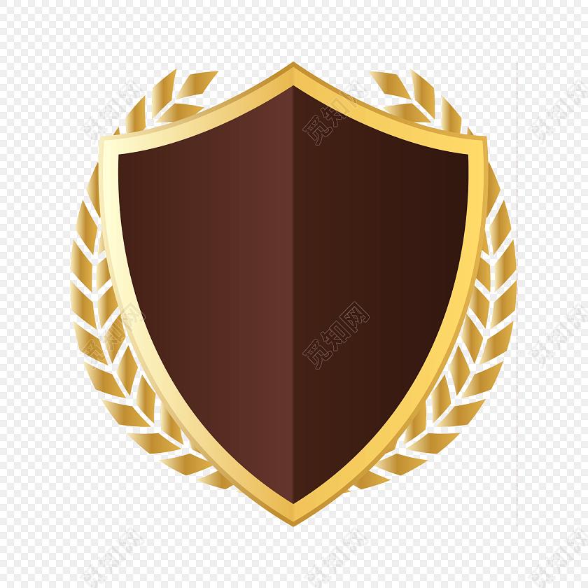 棕色盾牌麦穗边框徽章素材