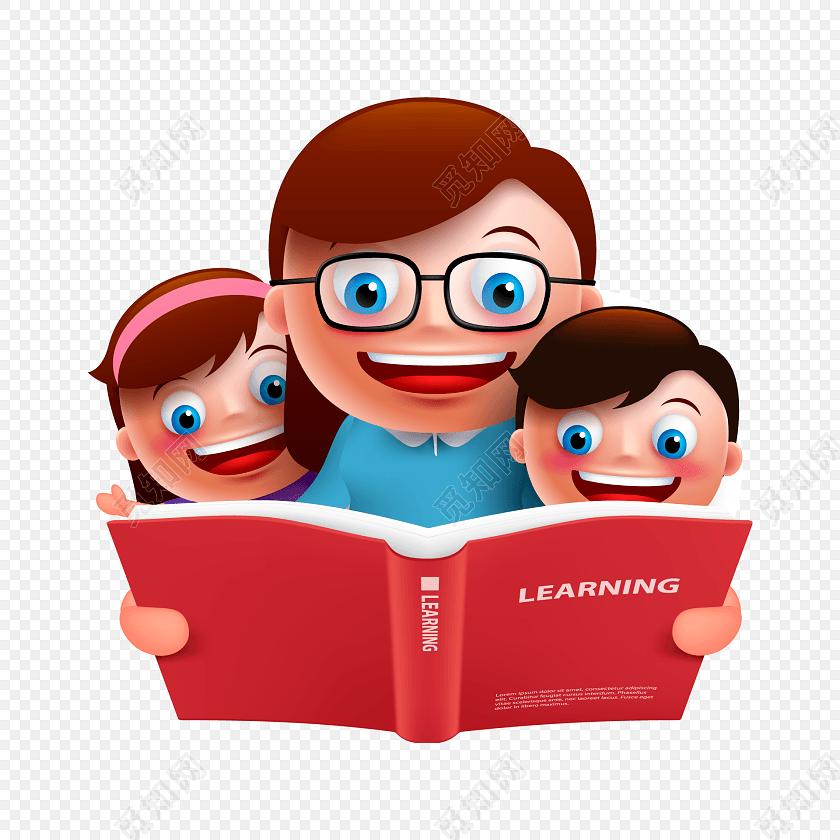 卡通师生一起看书素材图片