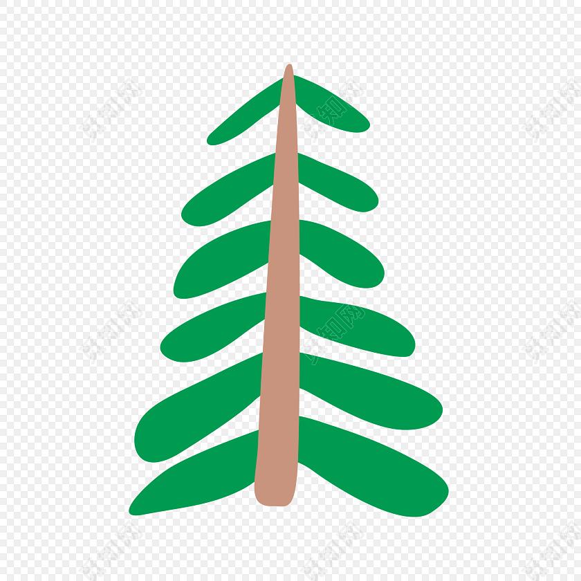 绿色水彩画小树矢量图
