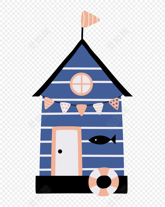 蓝色创意卡通房子建筑矢量图片