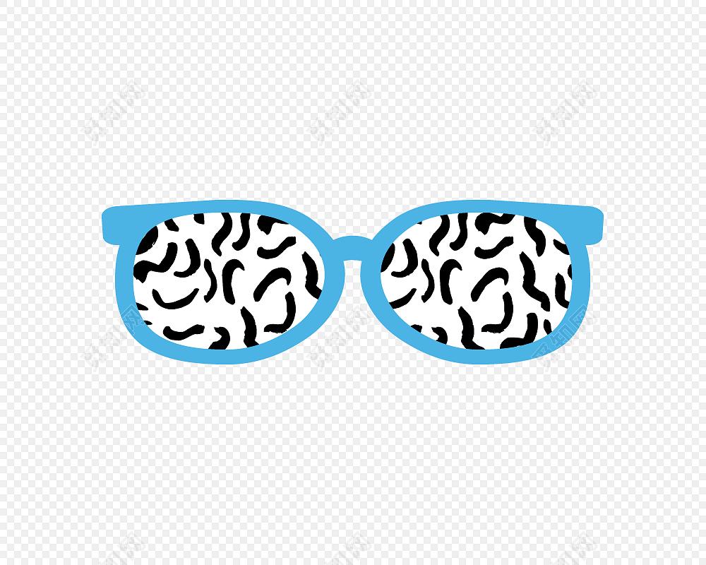 蓝色卡通手绘抽象眼镜矢量图片免费下载_png素材_觅