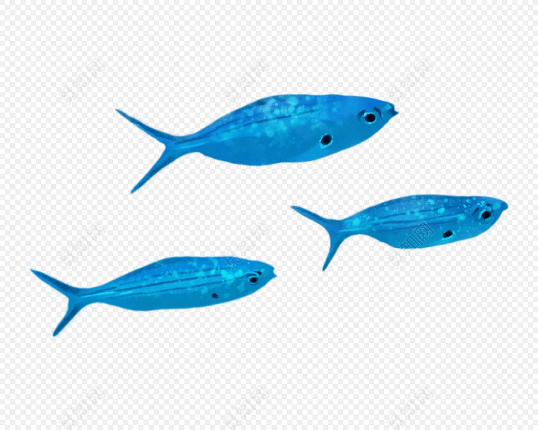 蓝色水彩手绘鲸鱼矢量素材