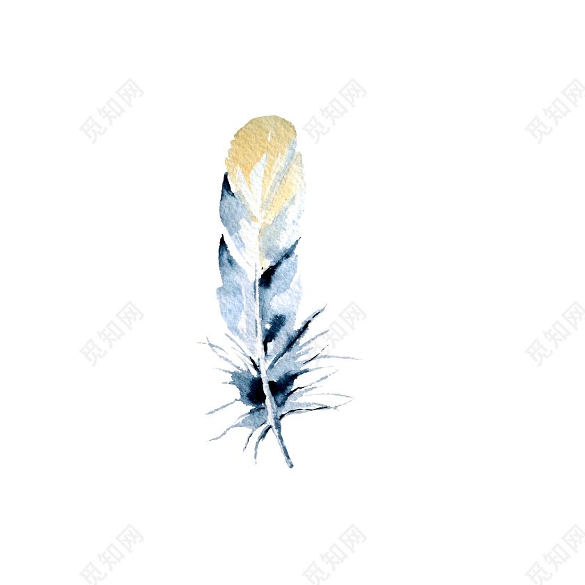 彩色水彩手绘羽毛矢量素材