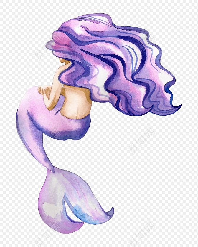 水彩美人鱼花纹装饰绘画素材