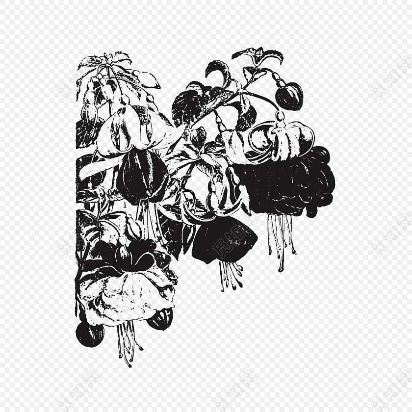 黑白叶子花朵矢量图素材