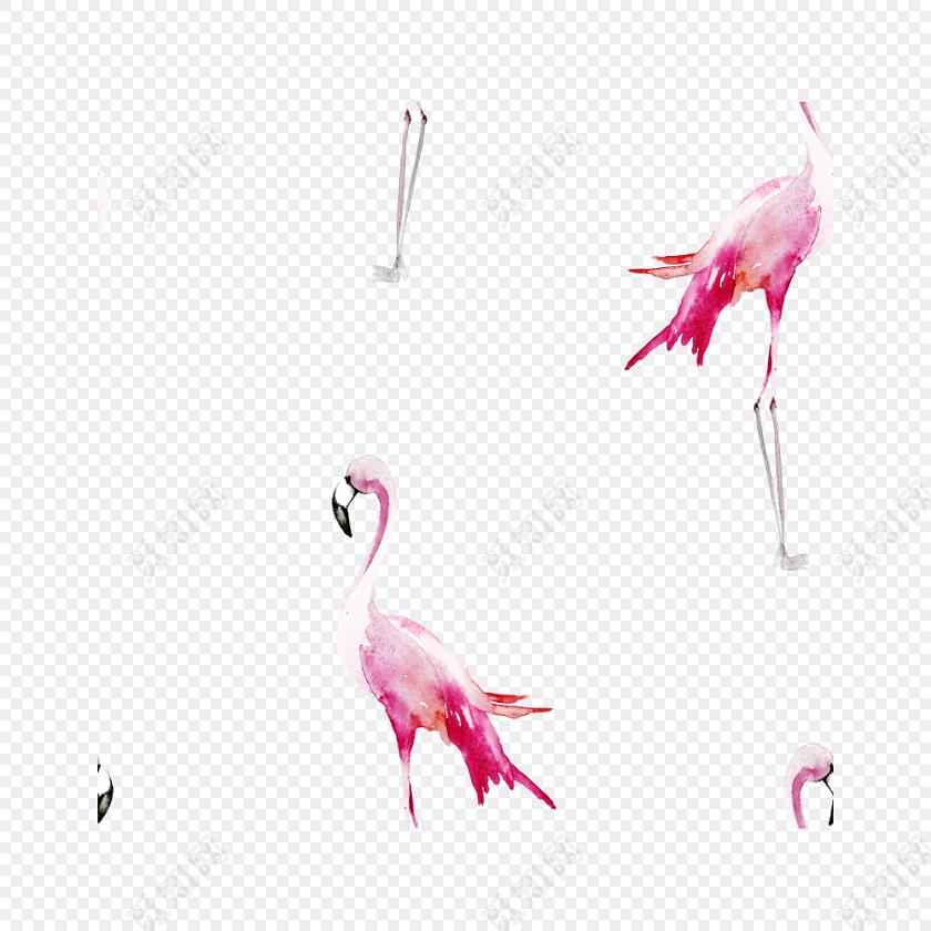 水彩手绘火烈鸟背景素材