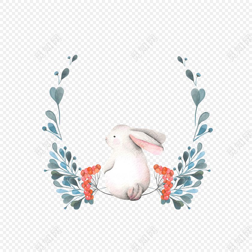 卡通手绘兔子花环水彩插画素材